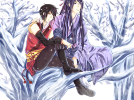 Gakupo and VY2 - Winter by JasmineTeen