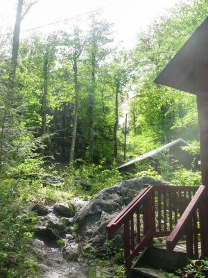 Camp in Massachusetts 10 - Hut stairs and rocks by RowyeStock