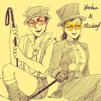Superjail Warden and Mischief by rosebudwu610