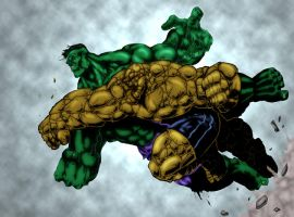 HulK vs Thing Colored by my wife Nikki! by RodneyCJacobsen