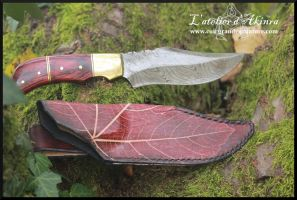 Damascus steel knife with sheath by akinra-workshop