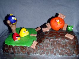 Angry Birds Cake by SarahMame
