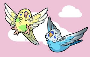 Budgies Buddies by KrowsyKunst