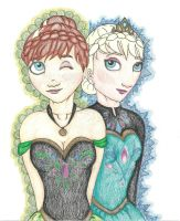 Princess Anna and Queen Elsa by aroselovell