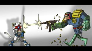 Pizza Cat vs Dredd by tyrannus