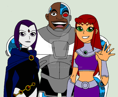 Teen Titans Project: Cyborg and the Ladies by LoopzeLoop