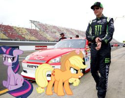 Twilight Sparkle, Applejack, and Kurt Busch by Catoz