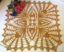 Four Square Pineapple Crochet Doily in Gold by doilydeas