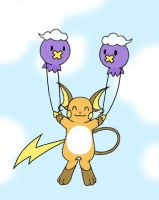 Drifloon Carry Raichu in Color by sunnyfish
