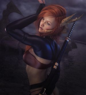 Redhead Warrior Girl with Sword Pin-Up Art by shibashake