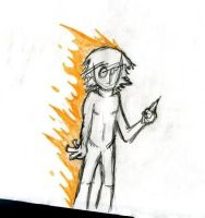 Self Portrait. Naked. On Fire. by Fish-man