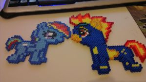 Rainbow Dash and Spitfire Chibi Hama beads by Laggingpepper