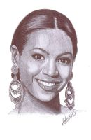 Beyonce Knowles Pen Portrait by Craig-Stannard