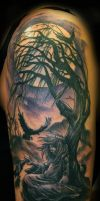 Gothic Girl and Tree Tattoo by Jackie Rabbit by jackierabbit12