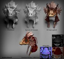 Dragon Skull Headdress - Low Poly by multicolored