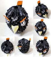 3D Origami Angry Bird 'Black' by Rajlakshmi