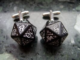 elvish k20 dice cuff links by kickthebucket