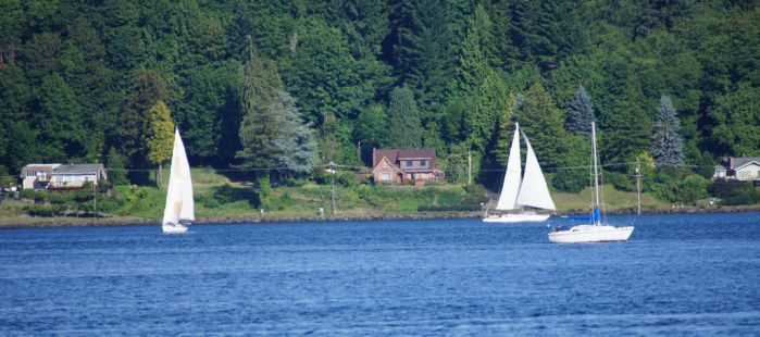 Sailboats on Sinclair Inlet by Danarchy84