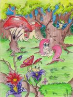 Fluttershy in the forest by blizyrockets