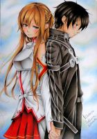 Kirito and Asuna - Sword Art Online by LuanaFortuna