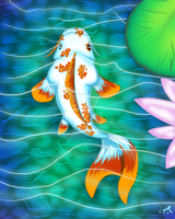 Nearly Finished Koi Print by omfgitsbutter
