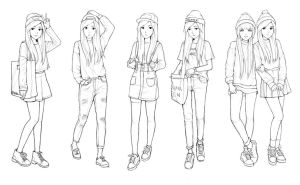 Fashion sketches by Hiba-tan