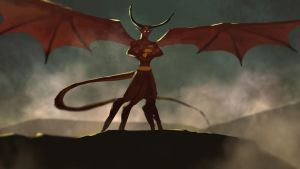 Daily Spitpaint - Winged Demon by jackfrozz