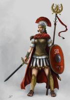 Commission: Centurionin der Legio V Shinxira (DSA) by Neferu