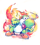 Fire-snot Yoshi by super-tuler