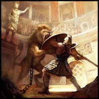 Gladiator VS Lion by MiguelCoimbra