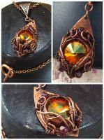 Helaku Swarovski Copper Pendant by tanyquil