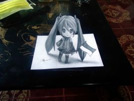 Miku Hatsune - 3D Drawing on Paper by XenNa-Scarlet