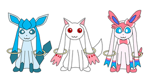 Glaceon, Kyubey and Sylveon by Leafeon14