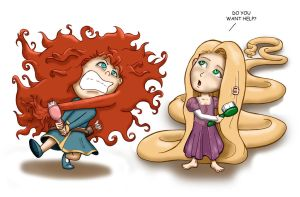 Merida and Rapunzel by RogerioBasile