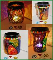 Peace Love and Happiness Candle Jar by Bonniemarie