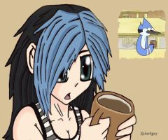 Regular Show-Mordecai as girl by Splashguy