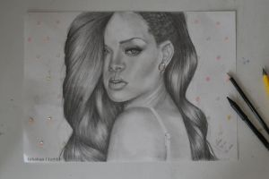 (Pencil drawing) Rihanna by tekakaa