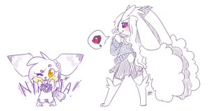 Sketch Commissions (Batch 1) .: Purple Gals :. by Vanilliana