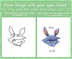 Draw with eyes closed meme by Sklavenbrause