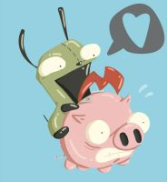REQUEST: GIR AND DAT PIG by DoctoramalL