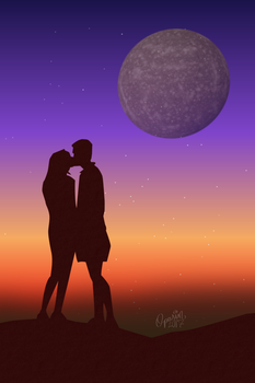 Kissing  under the Moon by Oparin