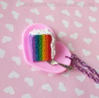 Rainbow Cake on a Plate Necklace by CantankerousCupcake