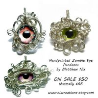 3 New Handpainted Zombie Eye Pendants by Create-A-Pendant