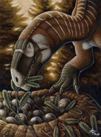Plateosaurus and Nest by kyoht