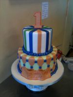 Two Tiered First Birthday Cake by Spudnuts