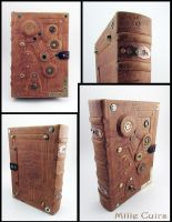 Steampunk leather tome by MilleCuirs