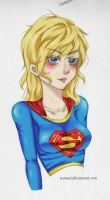 Supergirl colored Sketch by watuni