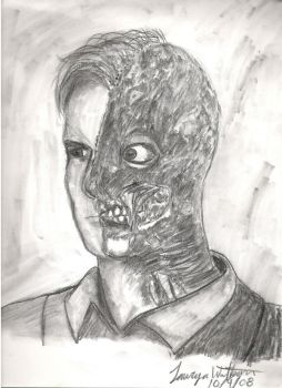 Two Face in charcoal by LlovesHalo