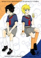 SasuNaru dress up: School Girl by Ashrey-chan
