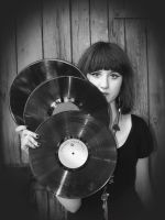 Vinyl girl black and white by Maadme